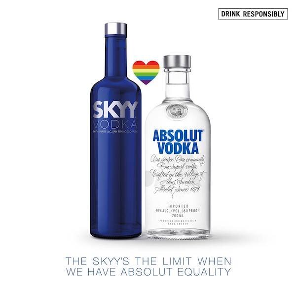 SKYY Vodka Teams With Direct Competitor Absolut in This Brilliant Stance on Same-Sex Marriage